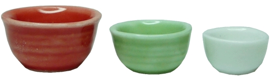 3 Piece Ceramic Bowl Set - Red Green White