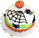 Halloween Pumpkin Spider Web Cake